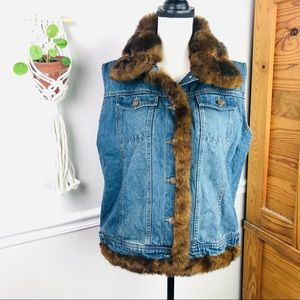 Fuda sport denim jean faux fur vest size Large